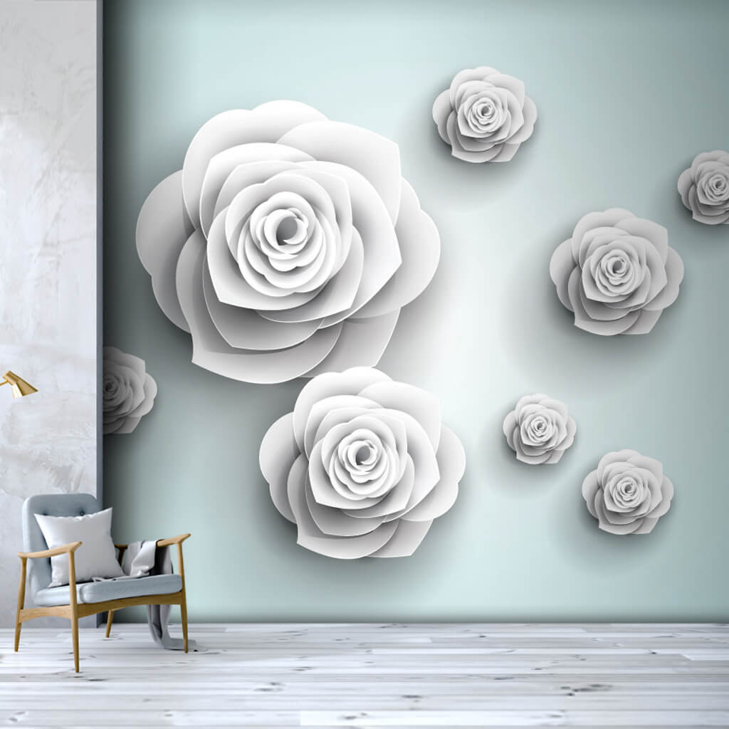 Embossed white roses 3D pattern scalable custom wall mural