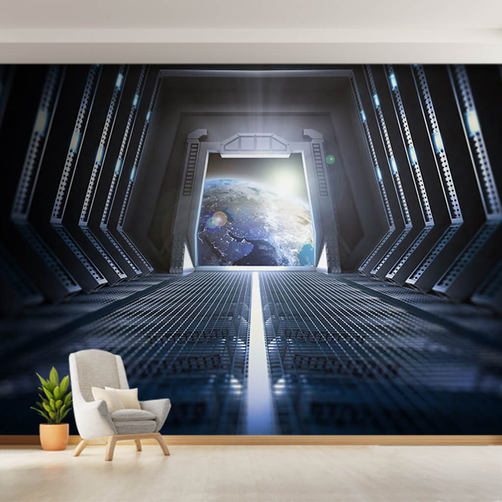 Earth scene from inside of space station custom wall mural