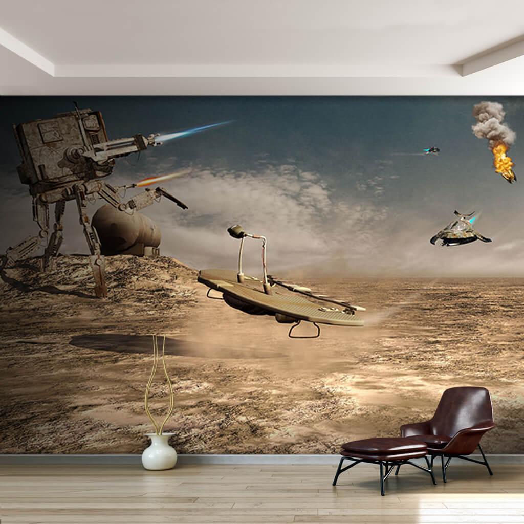 Yıldız savaşları yürüyen makinelerin saldırısı duvar kağıdı
