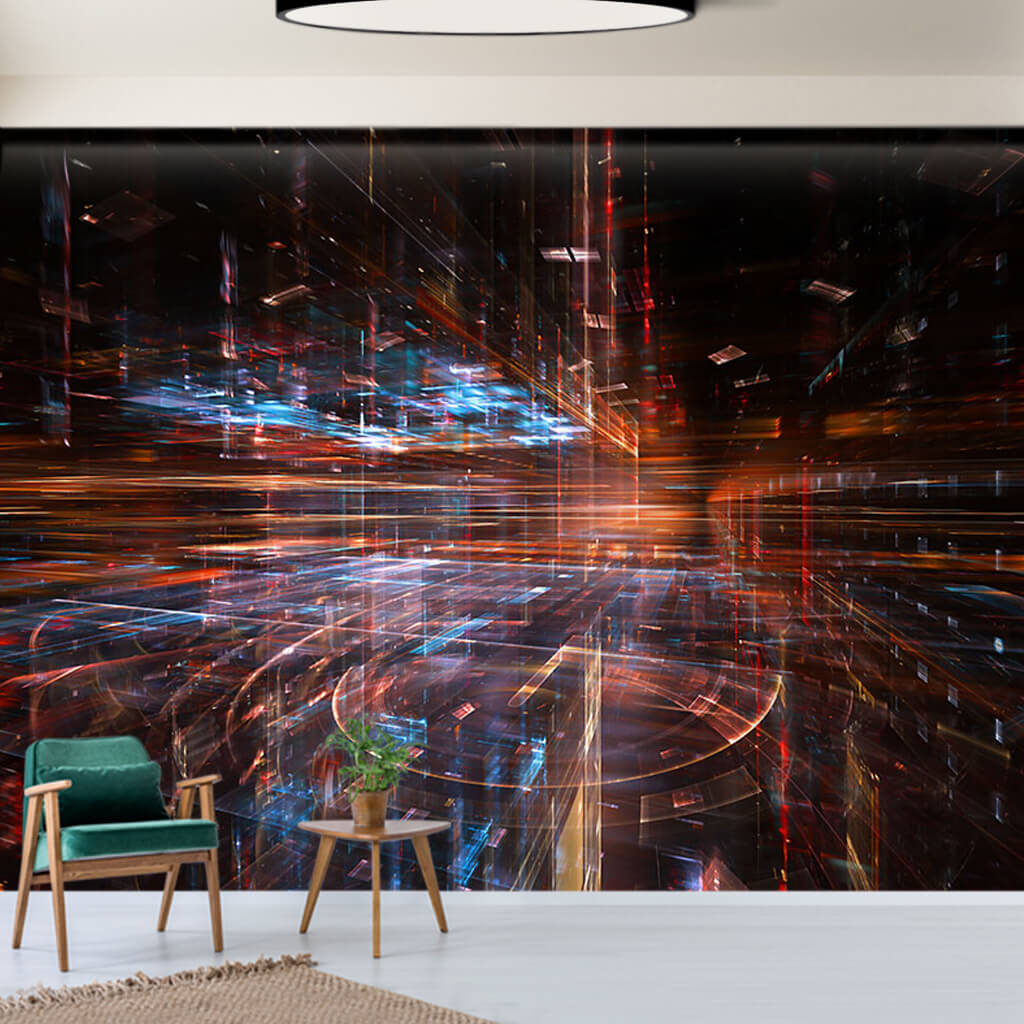 Cyber space and digital globe futuristic custom wall mural