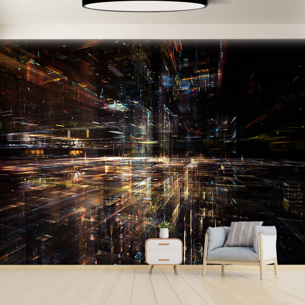 Digital world cyber space and science fiction wall mural