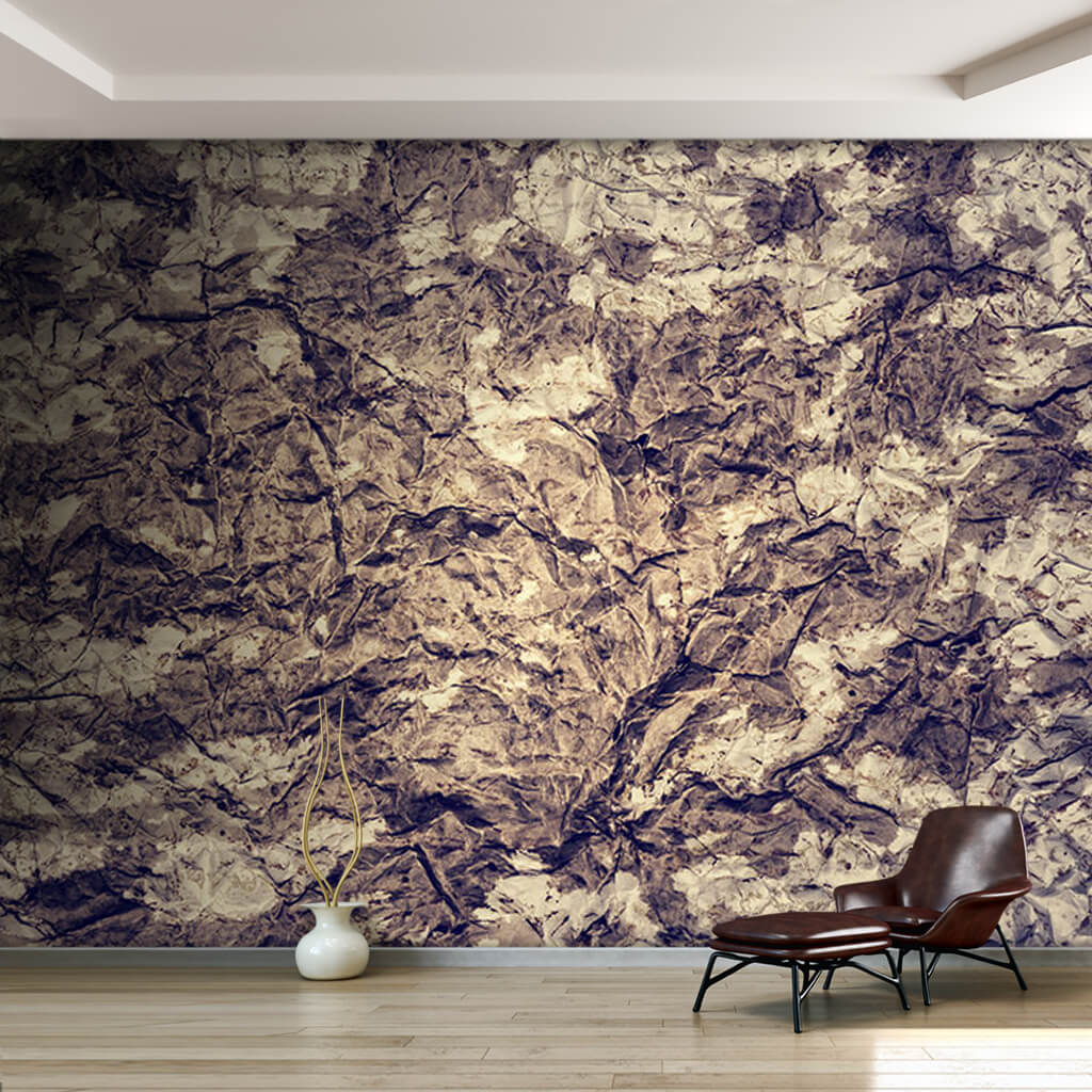 Ancient custom wall mural with crumpled metal rock texture