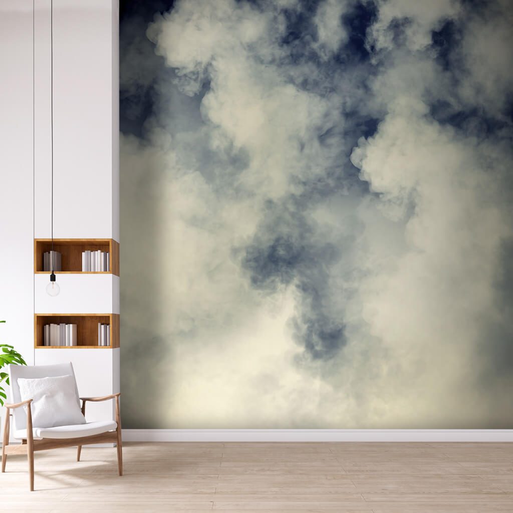 Blue sky with drifted white clouds custom scalable wall mural