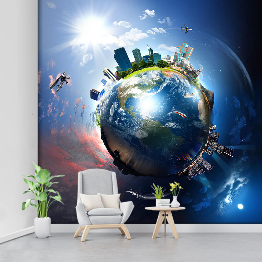 Developing global world globalization themed wall mural