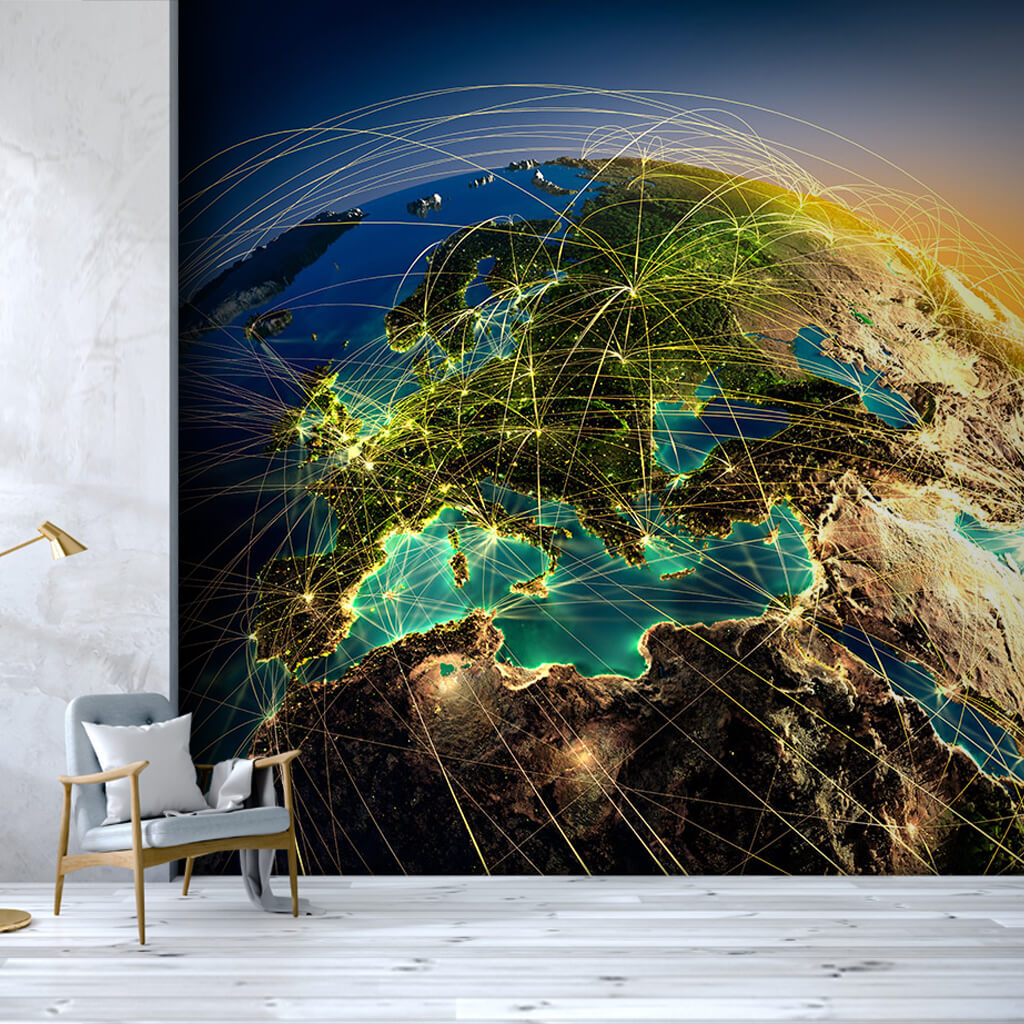 From space world communication map themed custom wall mural