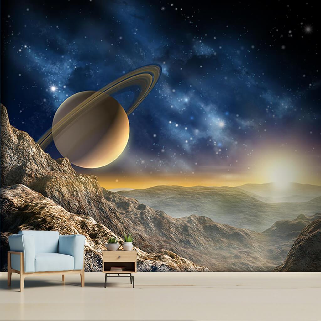 Mars'ta gün doğumu Satürn'ün halkaları uzay duvar kağıdı