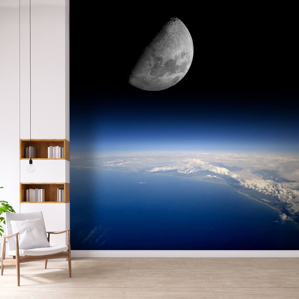 Amazing blue world from space horizons and moon wall mural