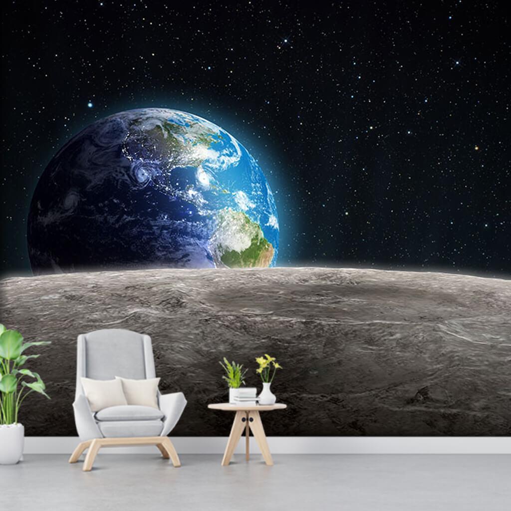 Ay yüzeyinden uzay boşluğu ve mavi dünya duvar kağıdı