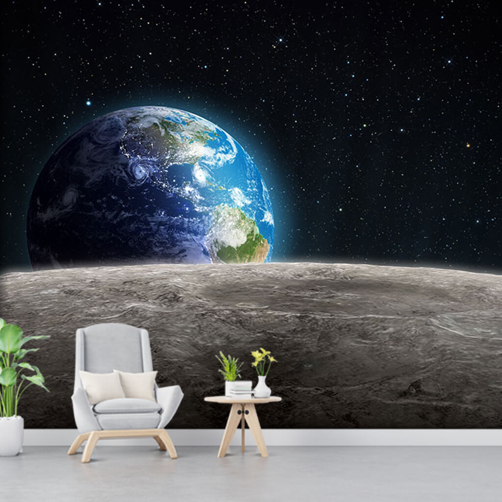 From the surface of moon space and blue world wall mural