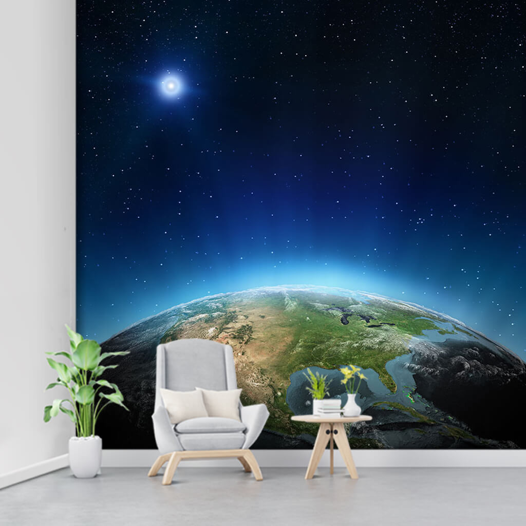 From space North America view of earth and stars wall mural
