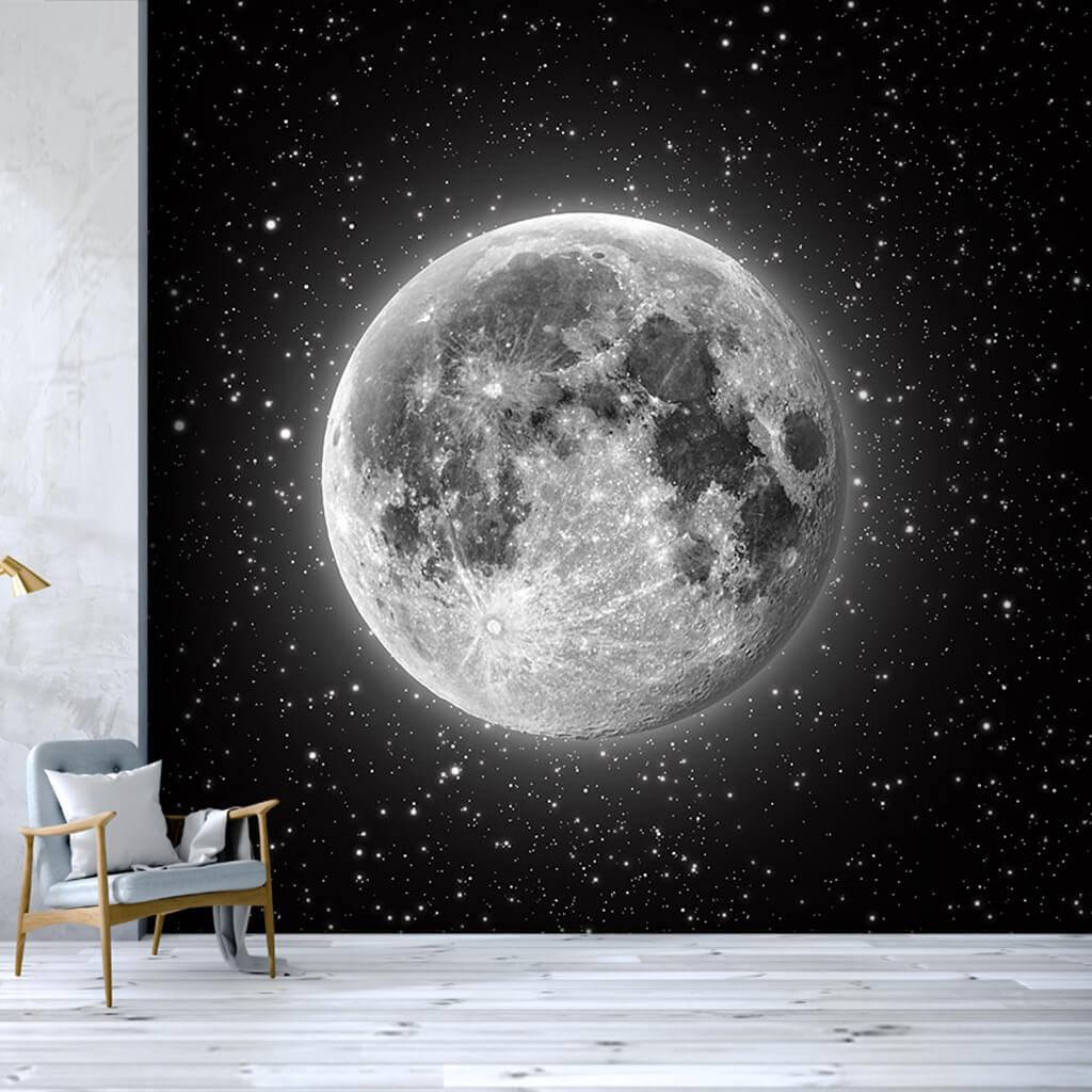 Glowing moon and stars in space scalable custom wall mural
