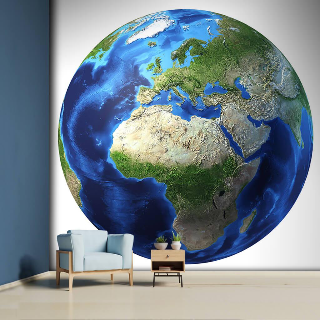 Avrupa Asya Afrika ve Ortadoğu fiziki harita duvar kağıdı