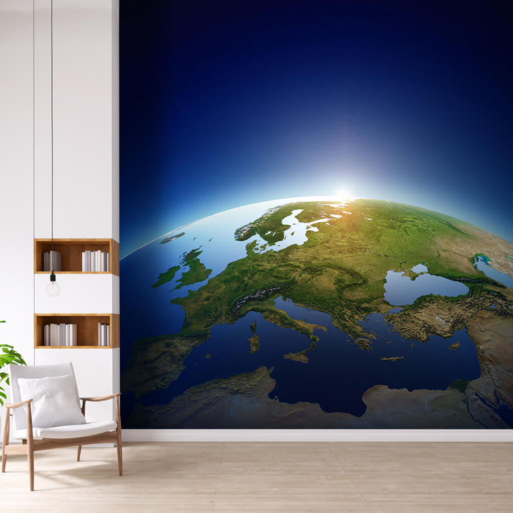 Europe Africa and Middle East view from space wall mural
