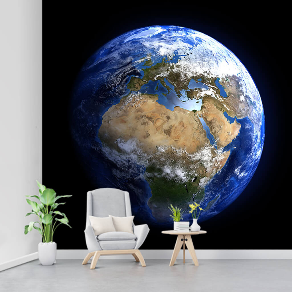 Lonely blue planet our world and space custom wall mural