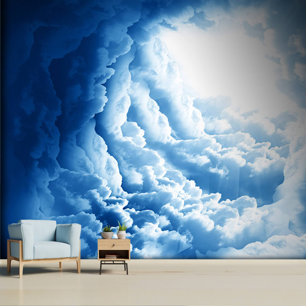 Hurricane eye of hose and clouds in sky custom wall mural