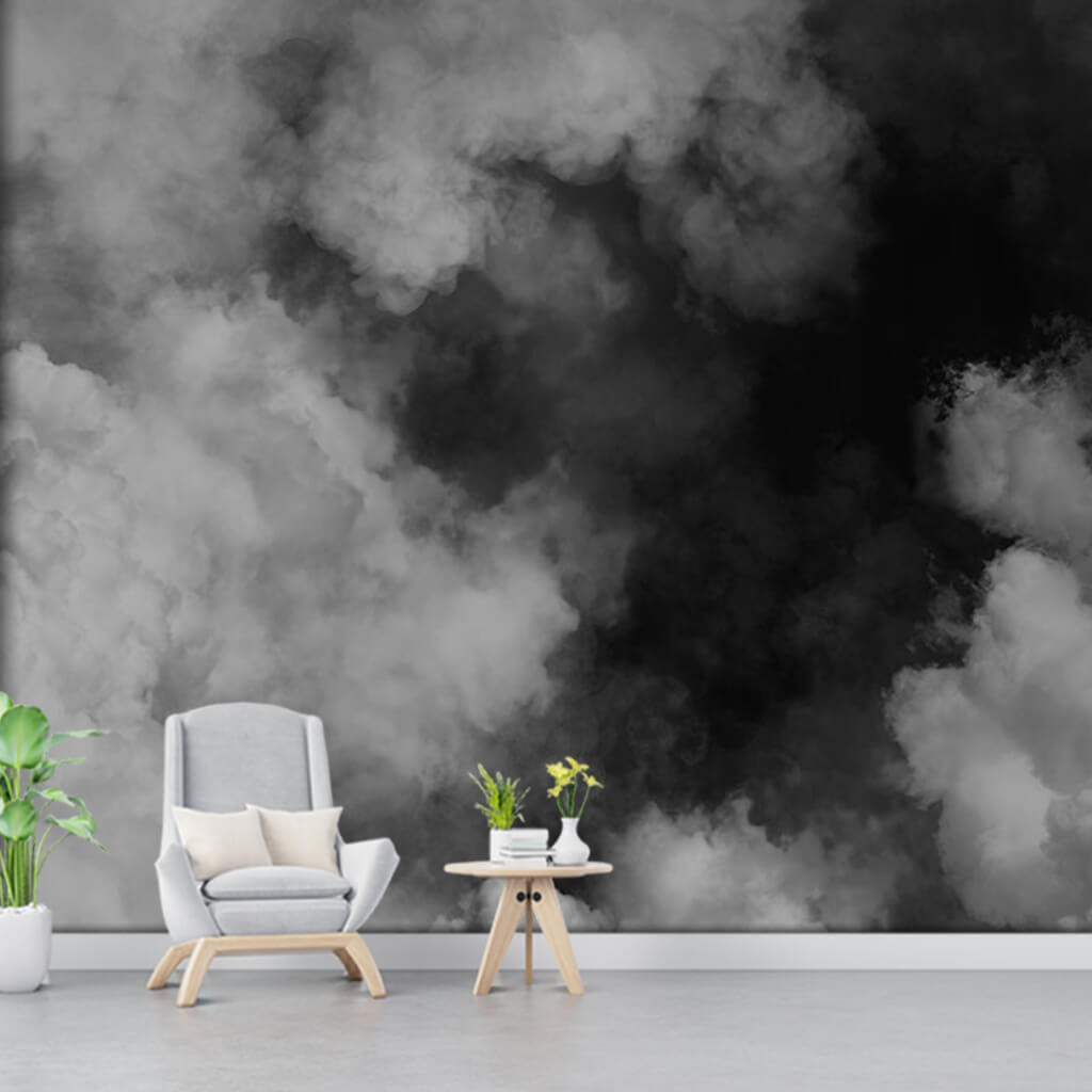 Fog smoke clouds and sky black white custom wall mural