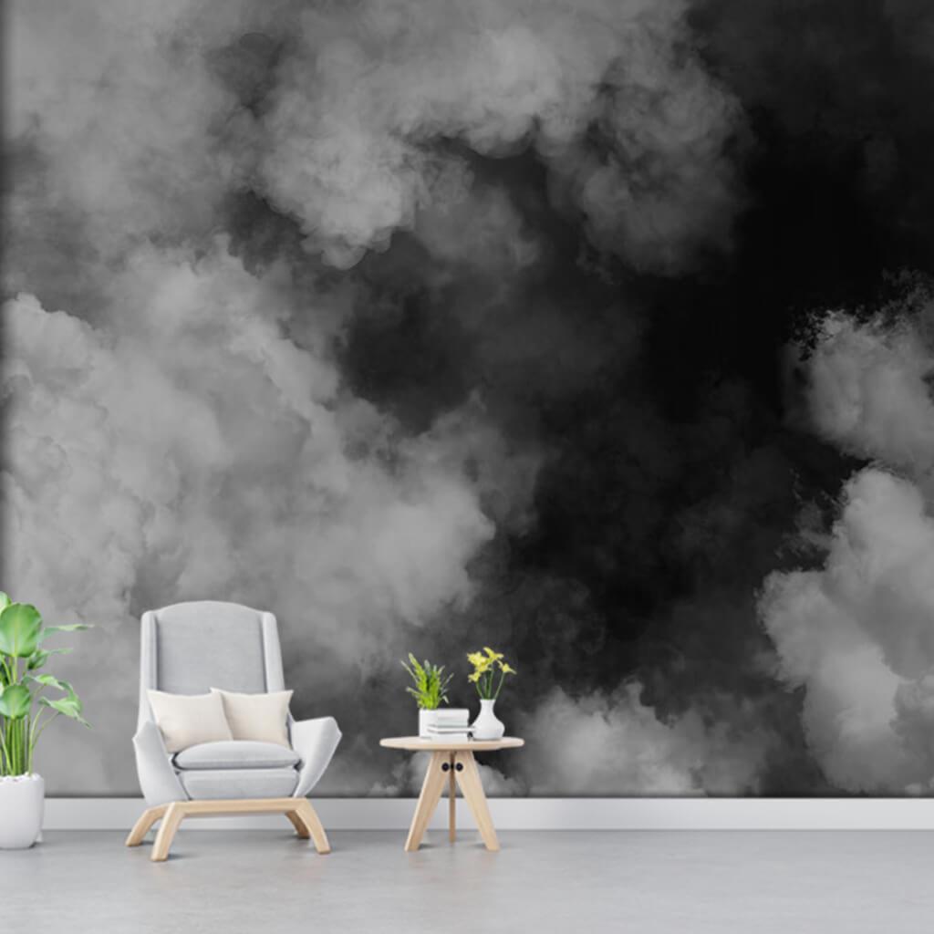 Siyah beyaz sis duman bulutlar resmi duvar kağıdı