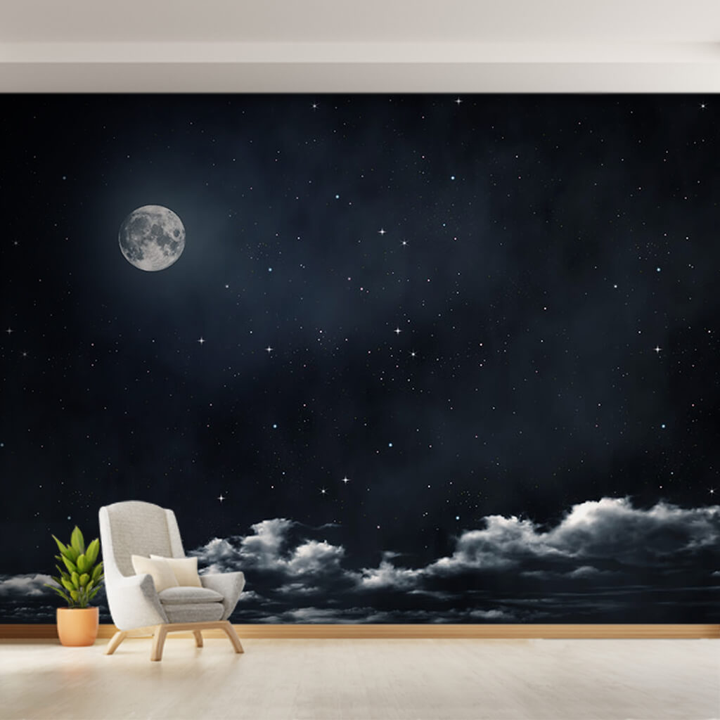Full moon stars and white clouds in night custom wall mural