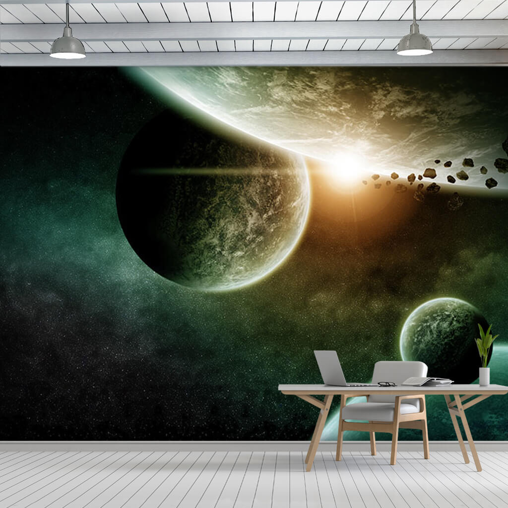 Space Planets Stars And Meteors Scalable Custom Wall Mural