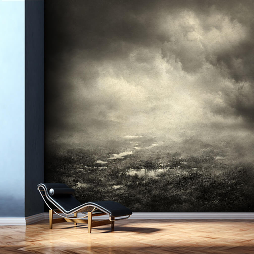 Mist and fog on the prairie sepia scalable custom wall mural