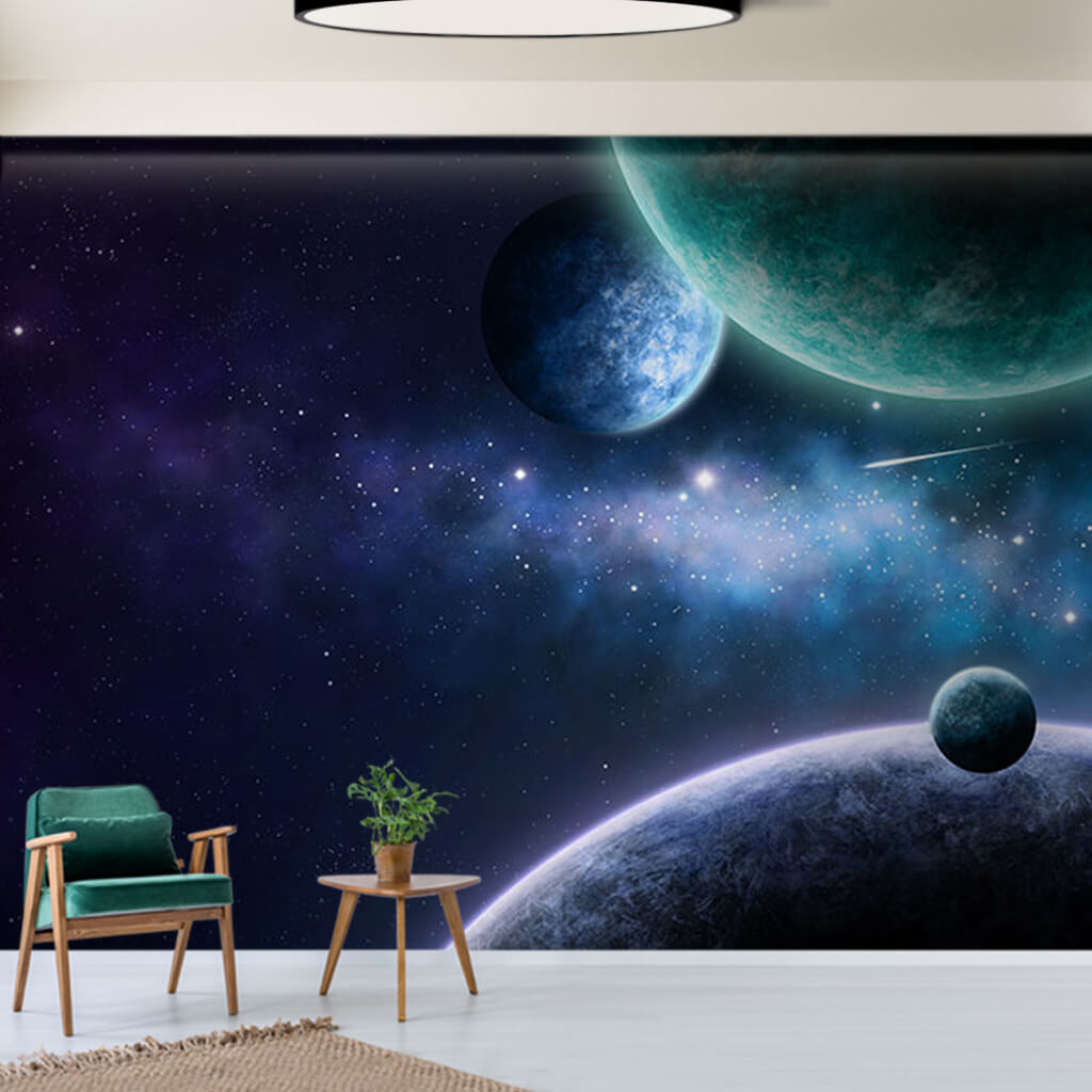 Planets and comets in space scalable custom wall mural