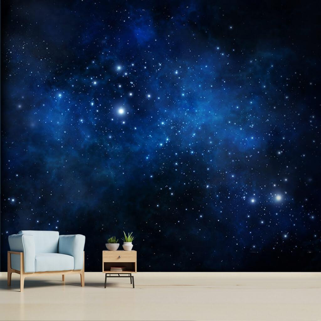 Gece gökyüzünde yıldızlar samanyolu ve galaksi duvar kağıdı