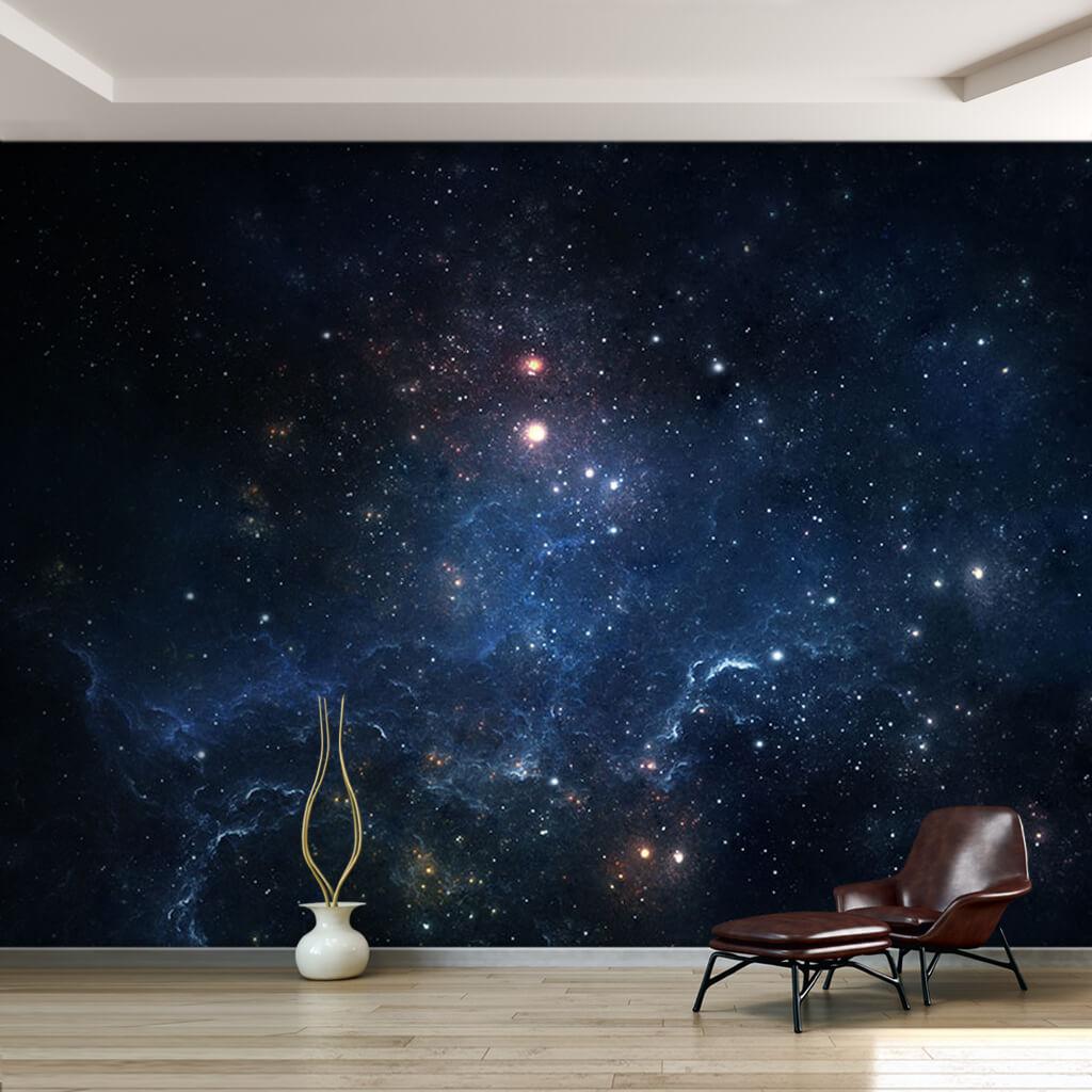 Karanlık uzay boşluğunda yıldızlar ve galaksiler duvar kağıdı
