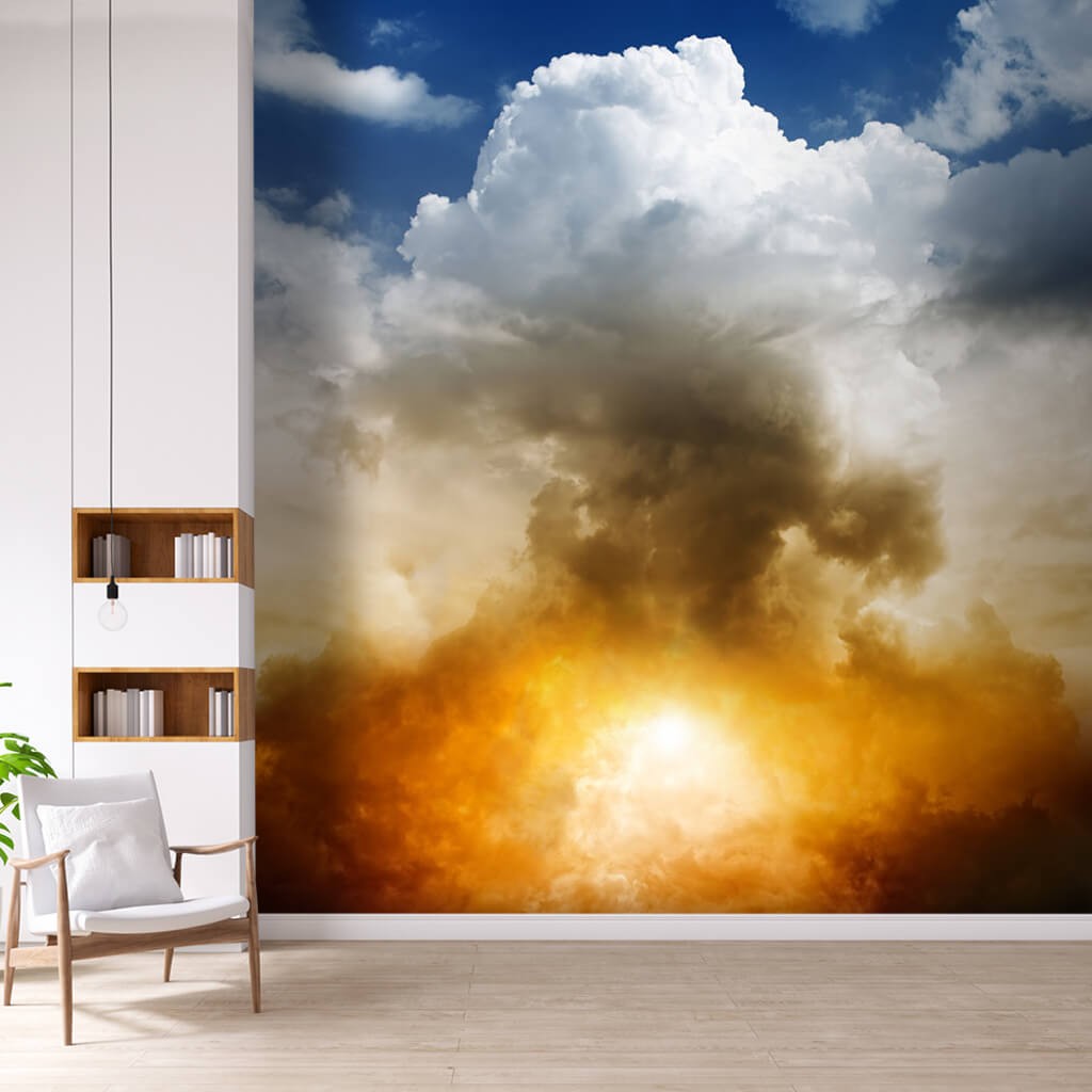 Blue sky with yellow sun white clouds and burst wall mural
