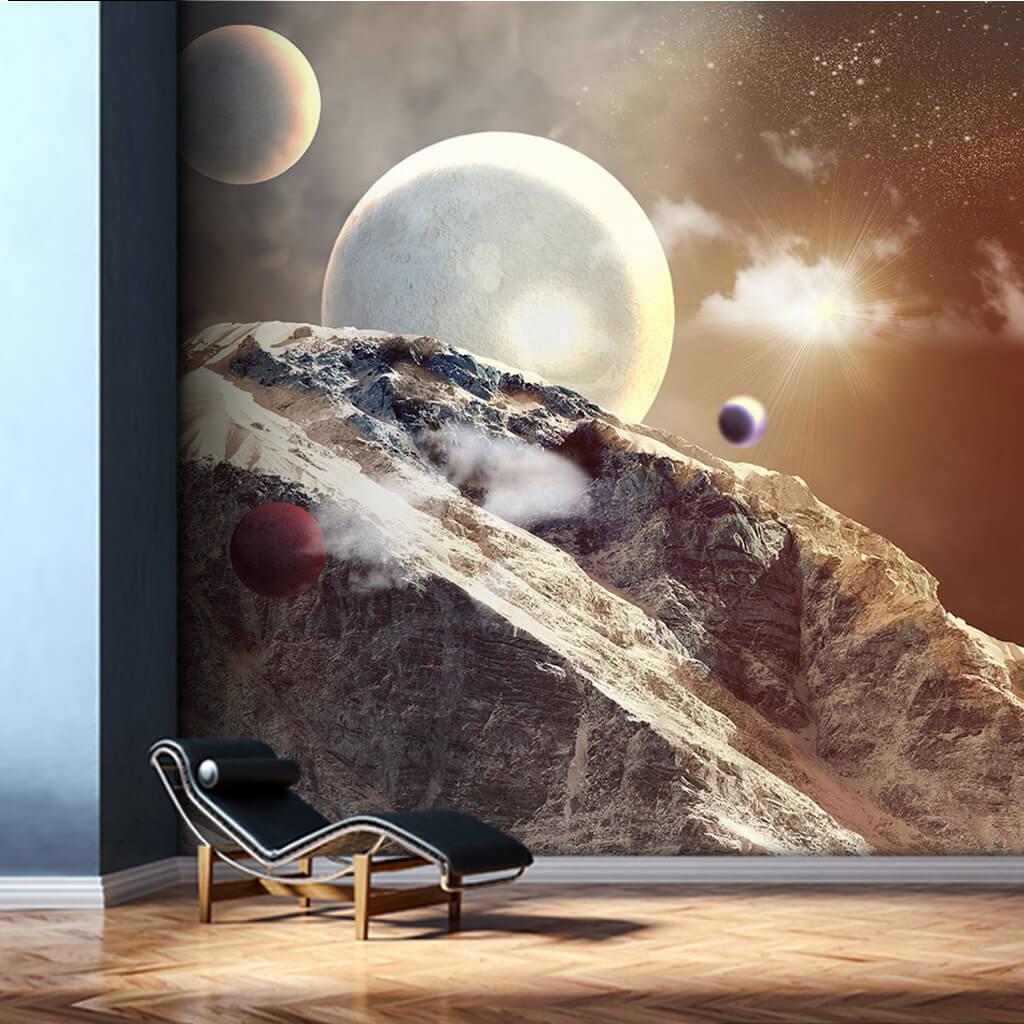 Kayalık dağ uzay ve gezegenler duvar kağıdı