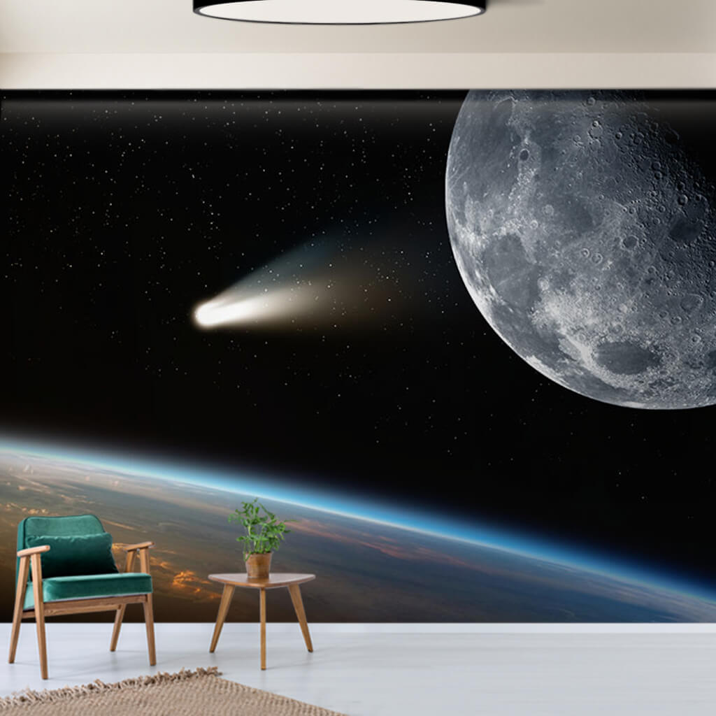 Earth moon and comet from space scalable custom wall mural