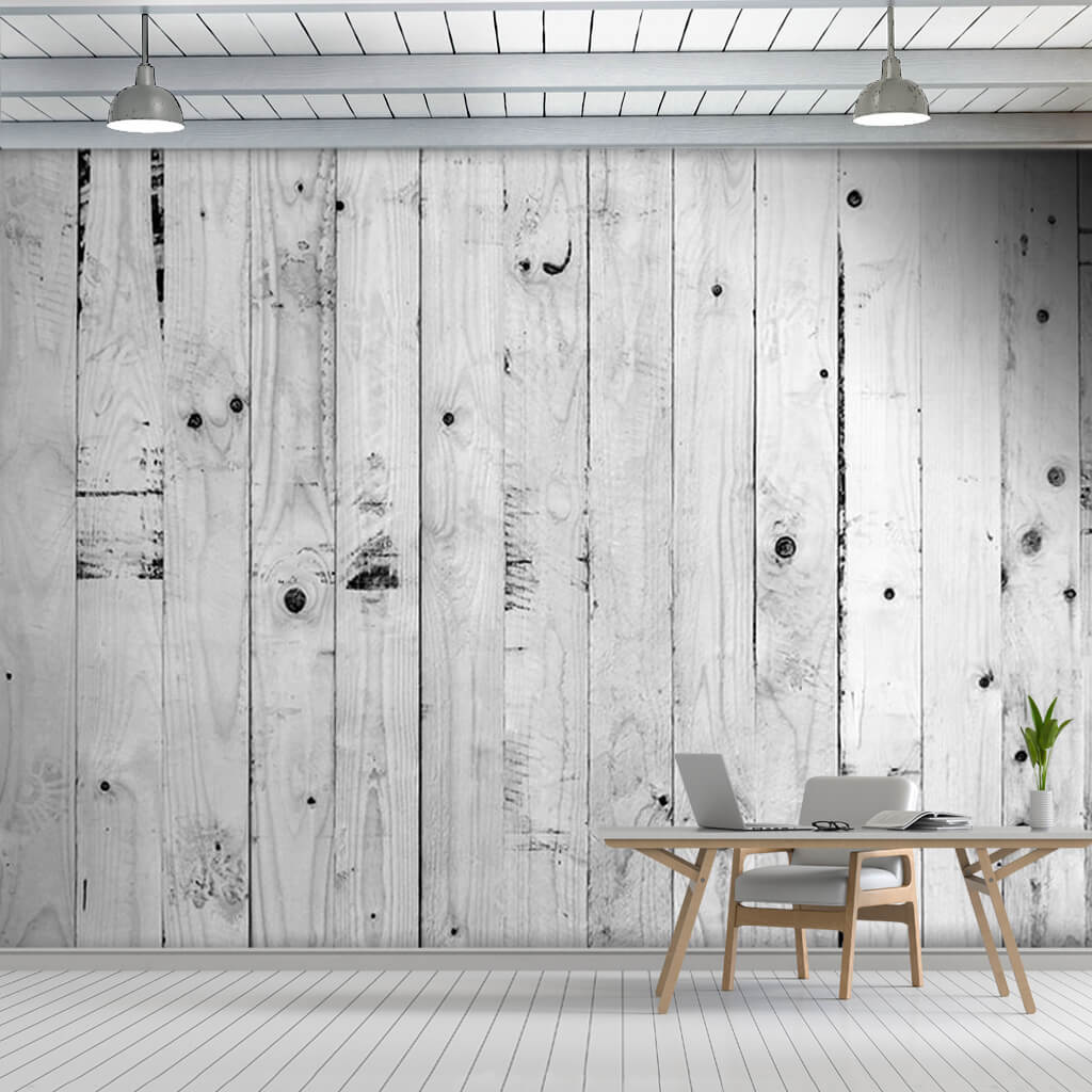 Black white poplar tree vertical cut wood board wall mural