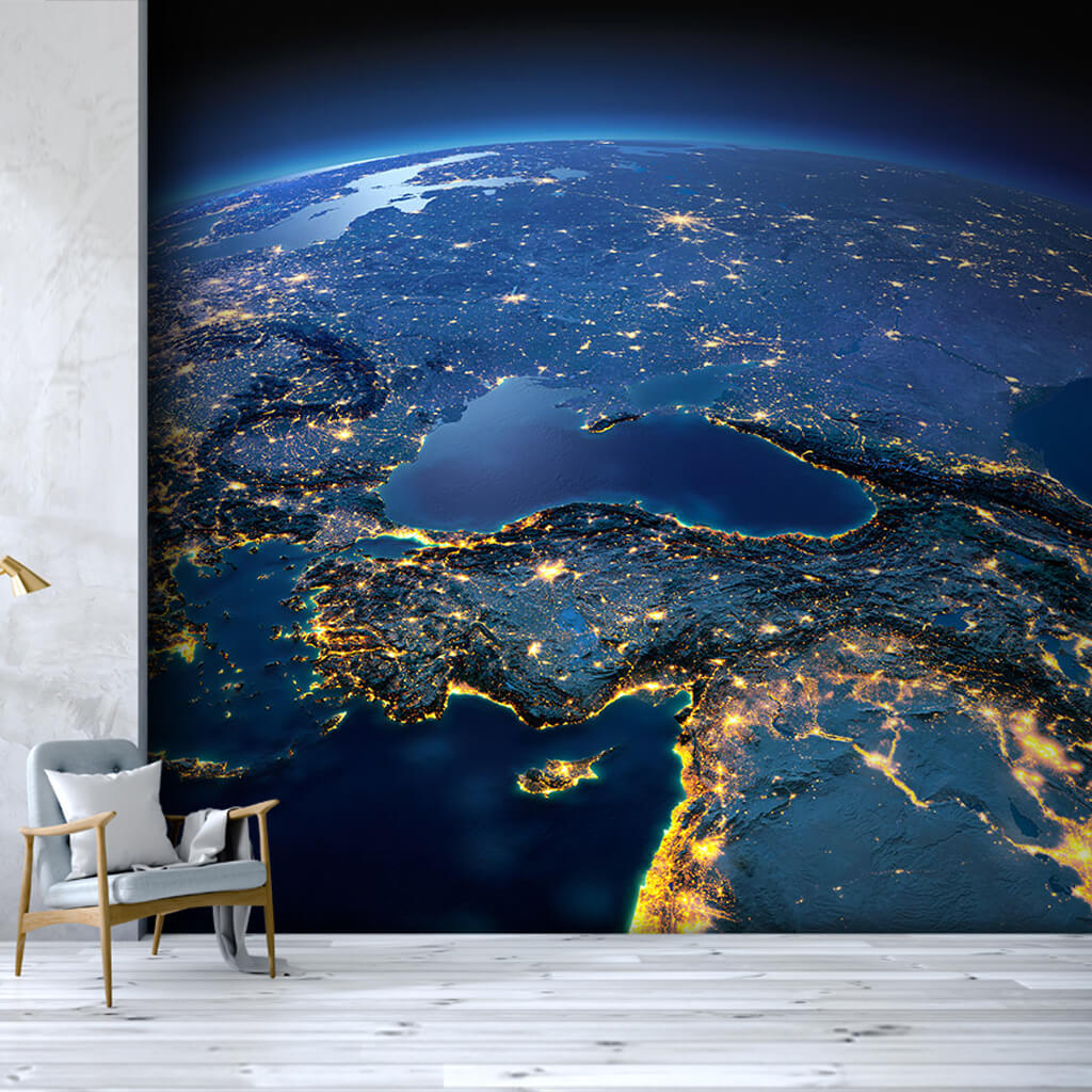 From space at night Turkey Anatolian lights wall mural