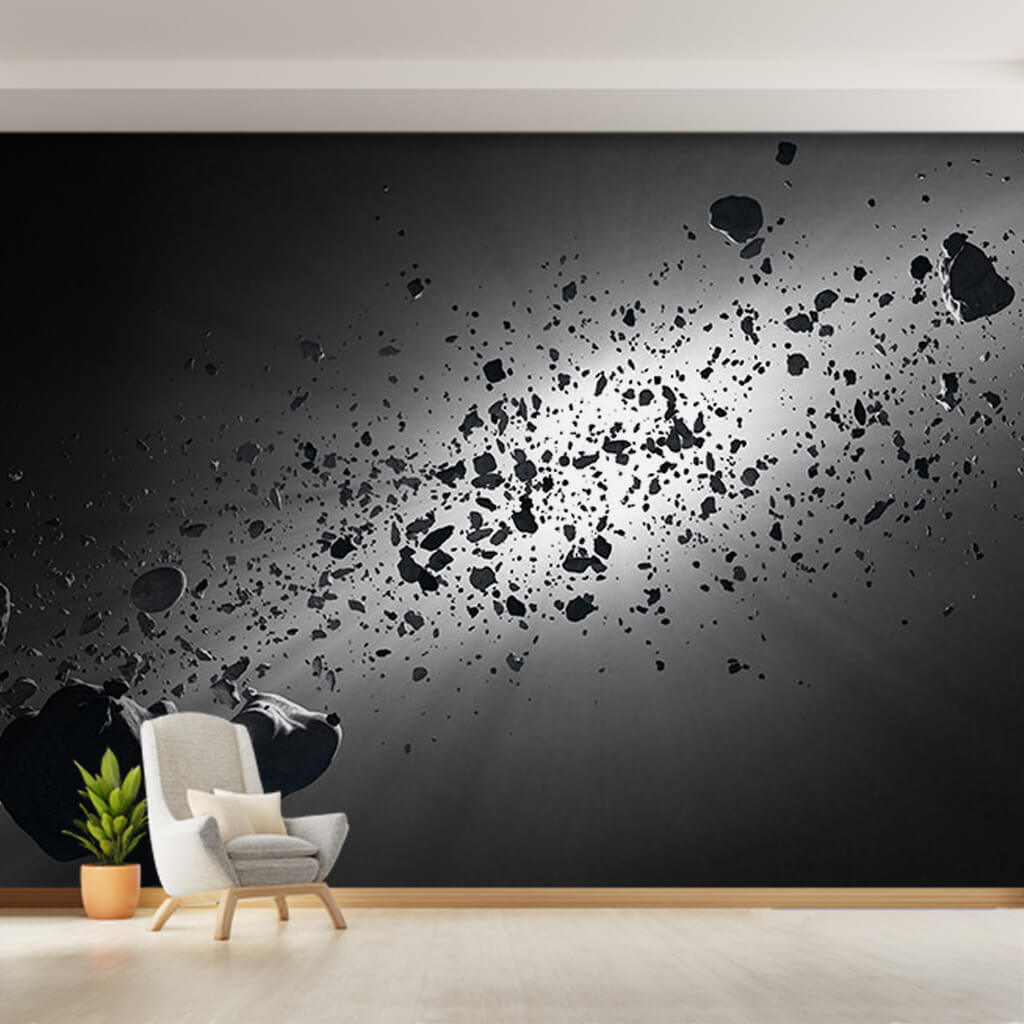 Meteors and light in space black white custom wall mural