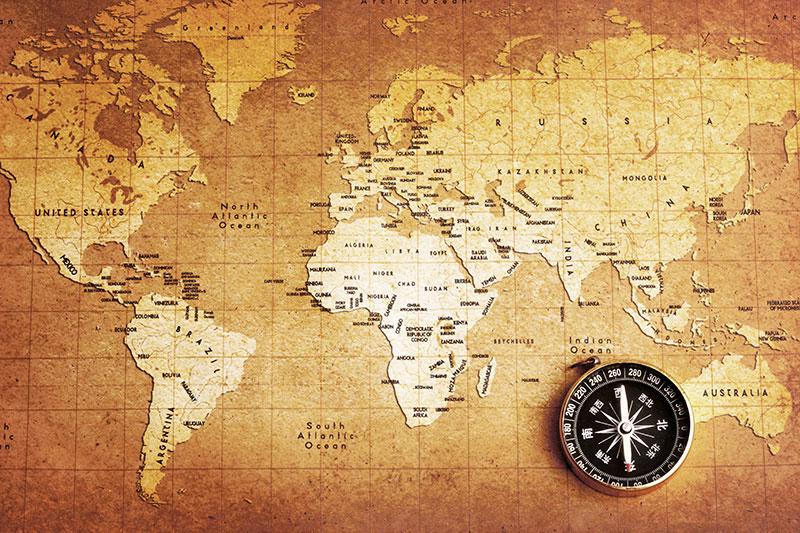 Compass On Political World Map Custom Sepia Wall Mural