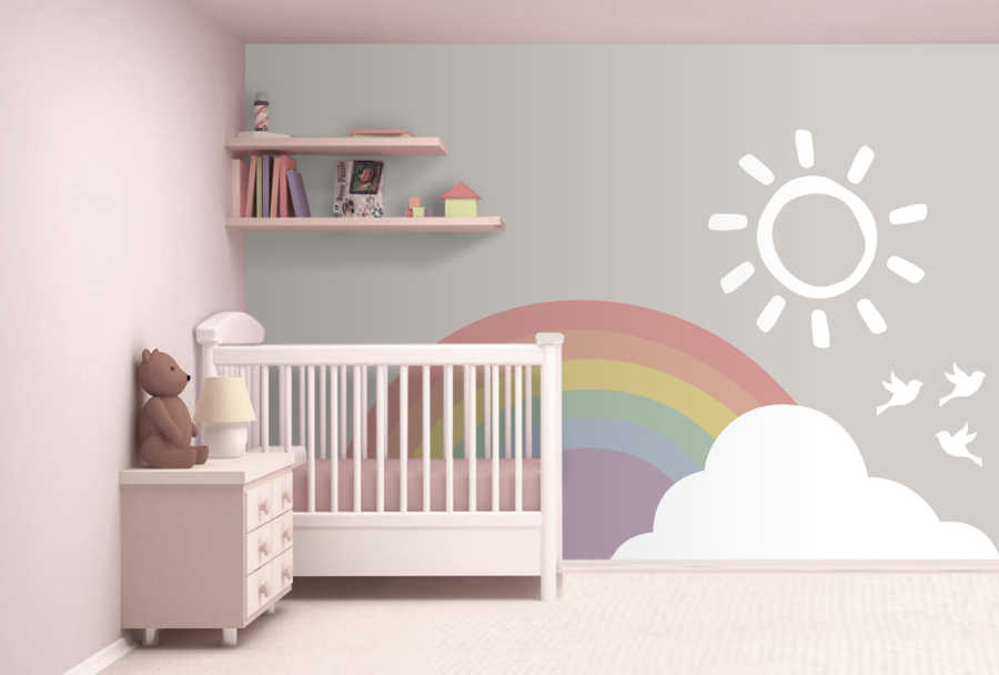 Flying birds rainbow and cloud on sunny day  baby wall mural