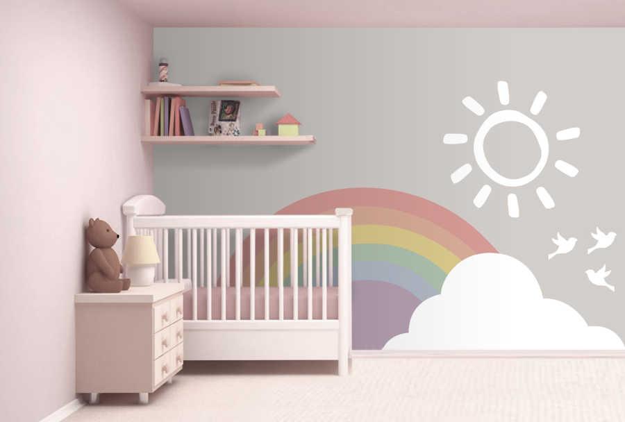Gökkuşağı kuşlar ve bulutlar bebek odası duvar kağıdı