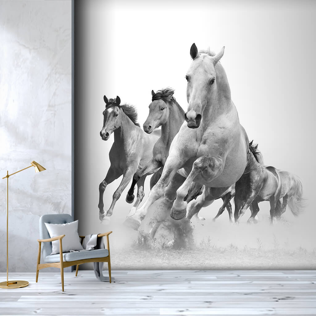 Illustration of galloping horses black and white wall mural