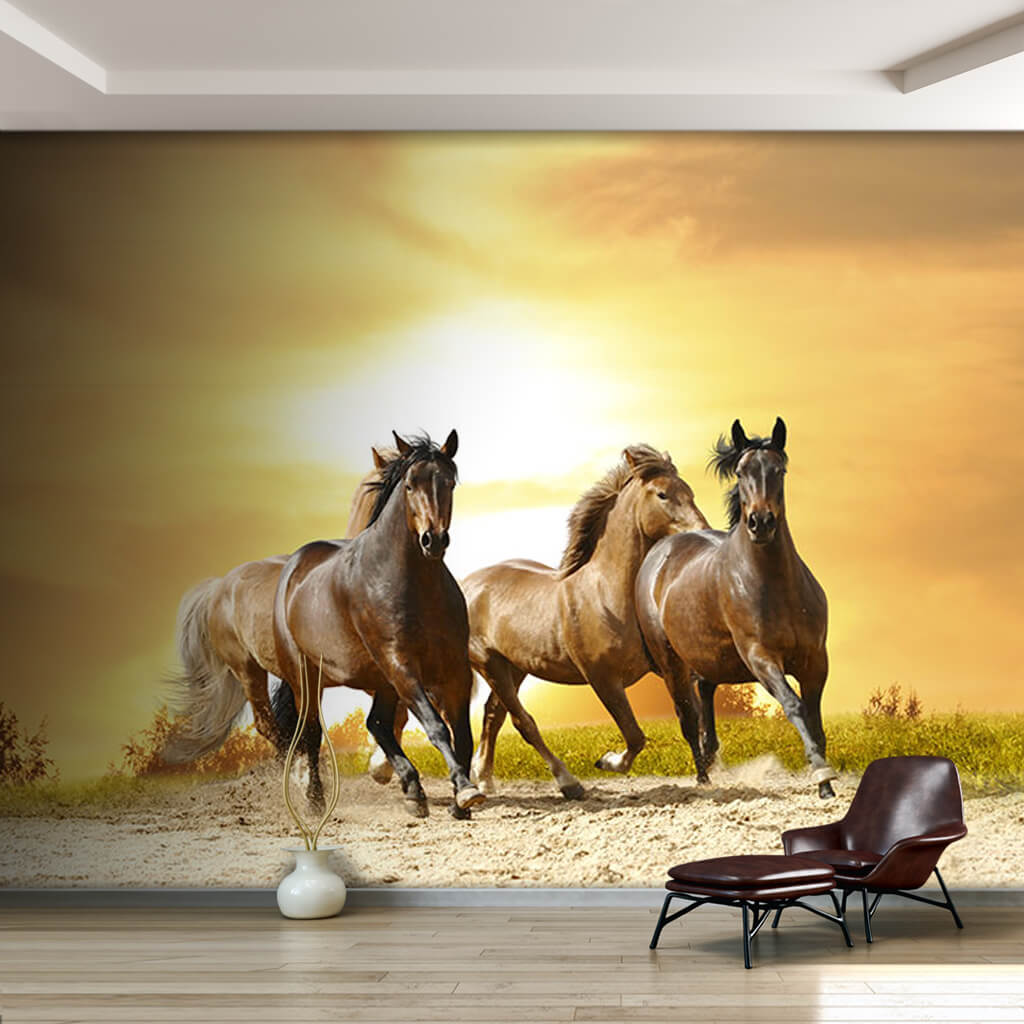 Horses running on the sand 3D scalable custom wall mural