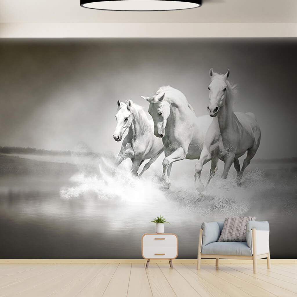 Sahilde koşan beyaz at 3D manzara duvar kağıdı
