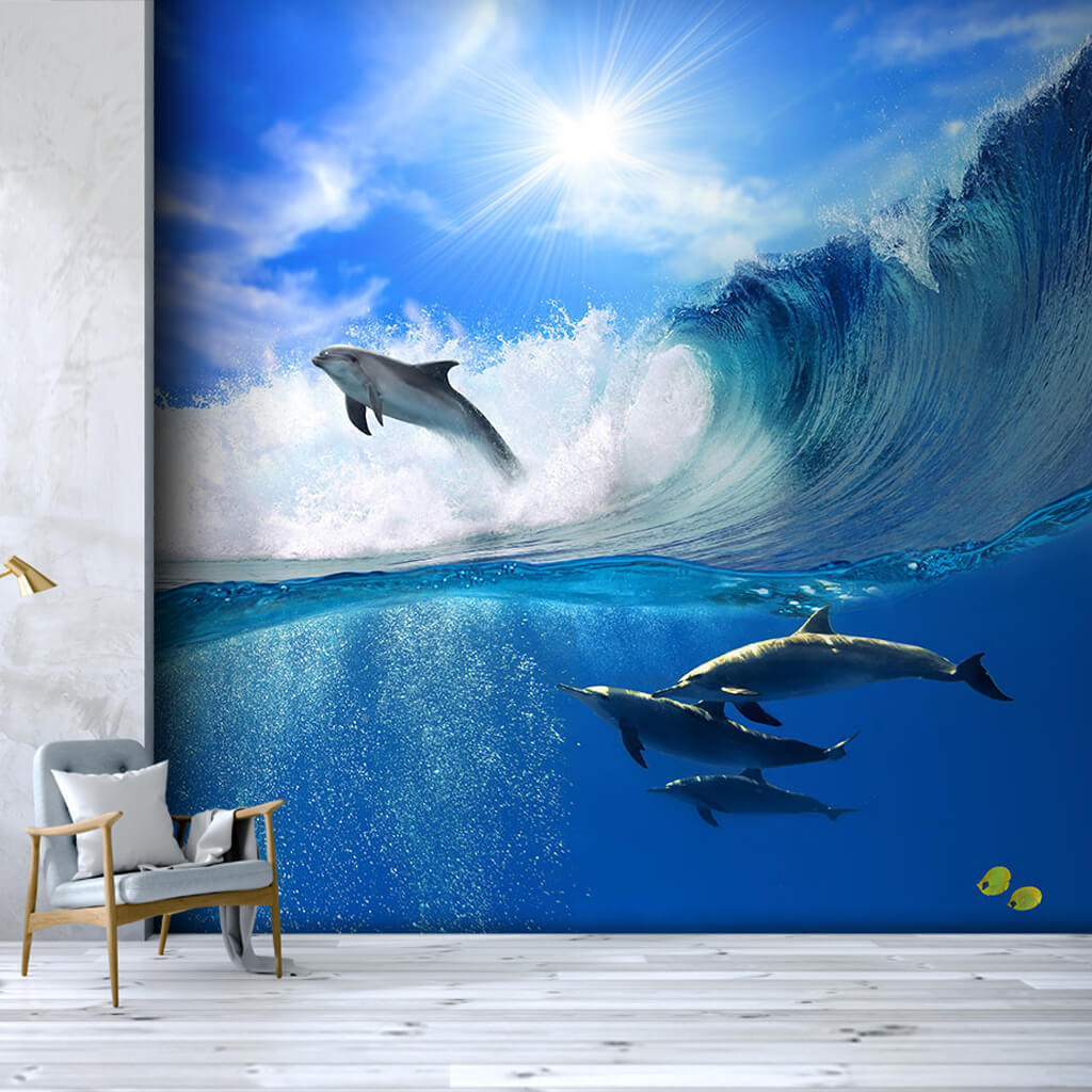 Dolphins racing in the ocean scalable custom wall mural