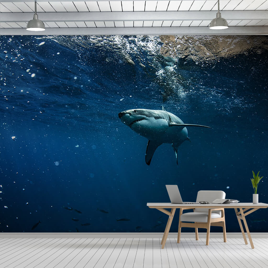 Blue ocean and great white shark scalable custom wall mural