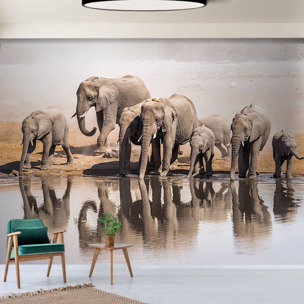 Büyük afrika fil ailesi 3D duvar kağıdı
