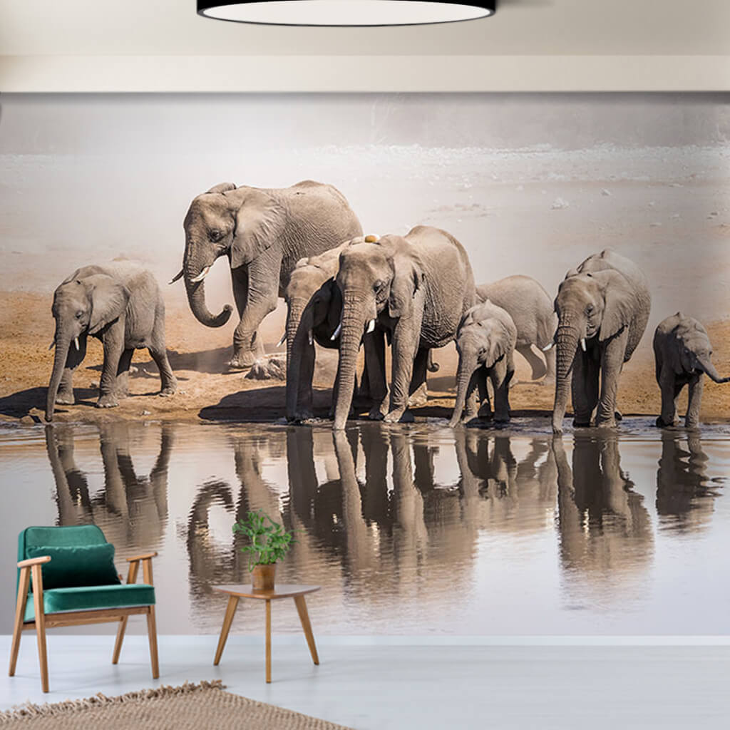 Large African elephant family 3D scalable custom wall mural