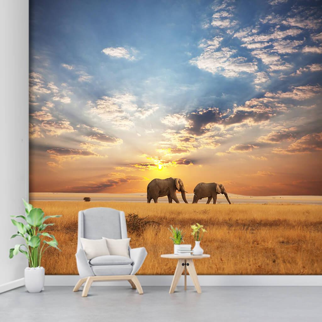 Namibya safari turları ve filler 3D duvar kağıdı