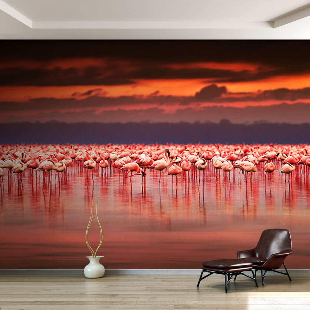 Pink flamingo herd in Nakuru Lake Kenya wall mural