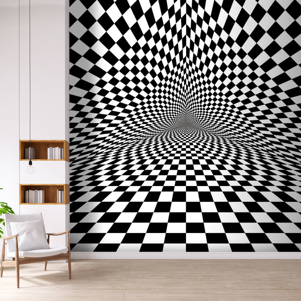 Optical triangle illusion with black white squares wall mural