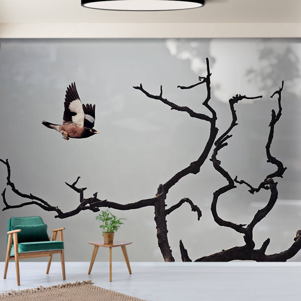 Flying goldfinch on tree branches black and white wall mural