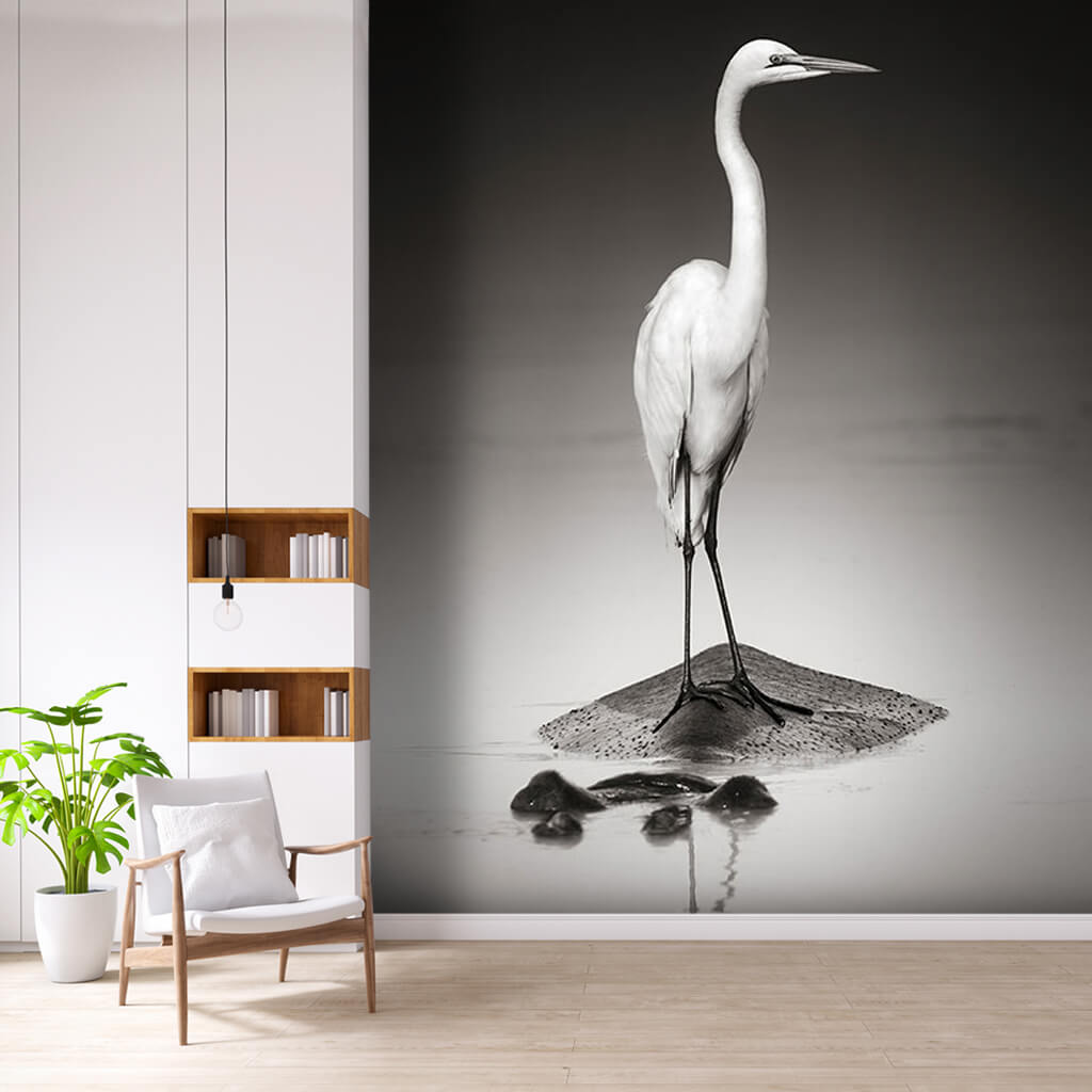 Great white egret on hippopotamus sepia wall mural