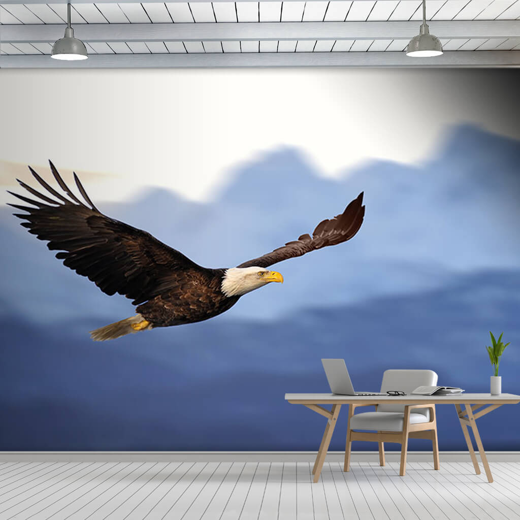 Flying bald eagle with open wings custom scalable wall mural