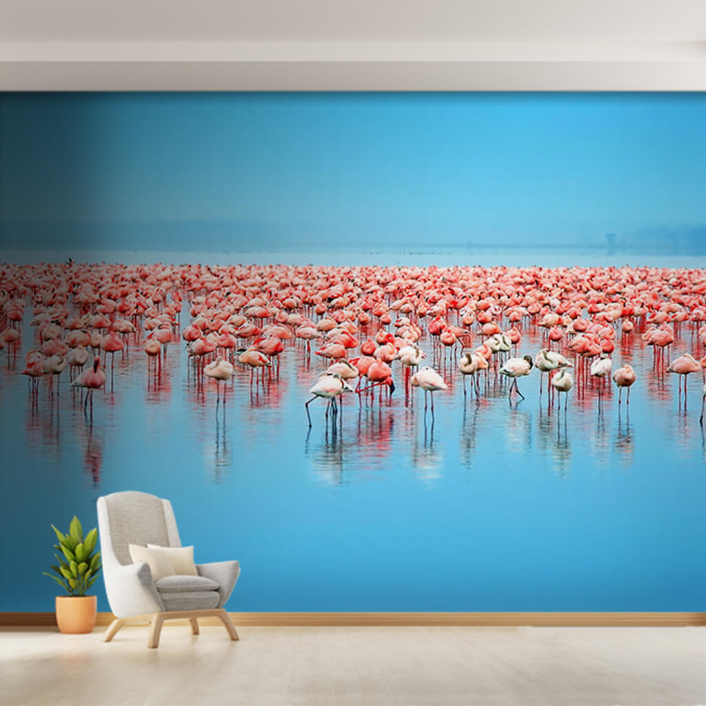 Herd of  pink Flamingo at blue lake custom wall mural